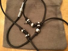 $395 Bottega Veneta Brown Leather Silver Necklace Unisex Excellent !!!