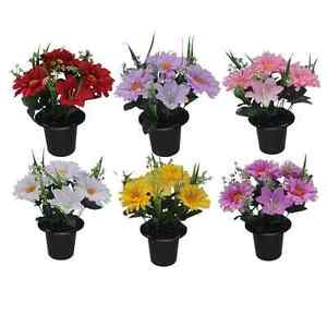 Artificial Gerbera and Lily Flowers in Crem Pot - Many Colours