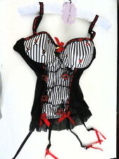 Corset, ART Prisoner of Love B&W 36C Black Red Trim BLING MY BRA Cancer Charity!