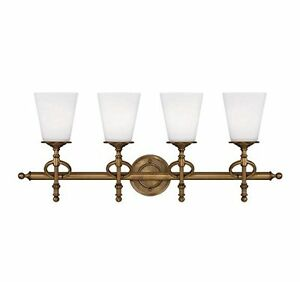 Savoy House 8-4155-4-291 Foxcroft 4 Light Bath Bar in Aged Brass Finish w/ Glass