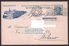 BOLOGNA CITTÀ 270 FABBRICA CARTONI SCATOLE Cartolina COMMERCIALE viaggiata 1921