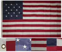3x5 Embroidered Sewn Star Spangled Banner 15 Stars Synthetic Cotton Flag 3'x5'