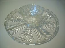 Crystal Cake Stand Vegetable Chip Dip Snack Tray Clear Heavy Glass Leaf Pattern
