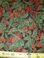 Winter Red Berry Berries Green 1 YD BTY COTTON FABRIC Hoffman Metallic Print