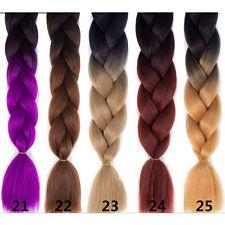 "24""Ombre Beauty Color Braiding Hair Purple Grey Crochet Kanekalon Braid Hair #22"