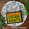 Gift Ornament Mini Wood Sign * PROTECTED by Screaming Goats Cubicle Gag Usa New