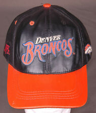 Vtg Denver Broncos Genuine Leather Hat/Cap-Embroidered-Snapback-NFL-Football-Blk