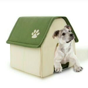 Pet Dog Cottage Indoor Cosy Sleeping Bed Kennel Foldable Shelter House