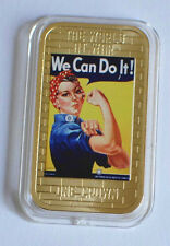 2014 Tristan da Cunha Large Gold plated Color 1 Cr WWII Propaganda-We can Do It!