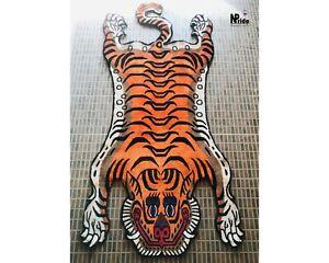 Orange Silk Tibetan Tiger Rug  Carpet Runner 3 Sizes Handmade Nepal Meditation