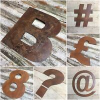 """12"""" industrial letters metal rustic numbers symbols shop sign lettering rusty"""