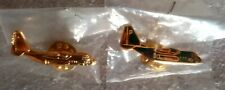 C-130A Hercules Gold Color and Camouflage Lapel Pins in packages (NEW)