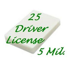 25 Driver License 5 Mil Laminating Pouches Laminator Sheets 2-3/8 x 3-5/8