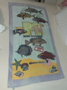 MTV Music Television BEACH TOWEL RARE PERFECT COND lightly faded Vintage 1988