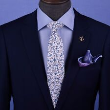 Water Painting Style Floral Skinny Tie Designer Cotton Woven Necktie Sexy Luxury
