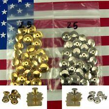 25 Locking Flathead Pin Keeper Backs Gold Chrome Military Disney Biker Police