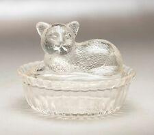 CLEAR BUTTER DISH GLASS WITH CUT GLASS DESIGN  DEPRESSION CLEAR CAT GLASS STYLE