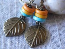 Earrings Dangle Earrings Boho Earrings Leaf Earrings Bronze Earrings Handmade