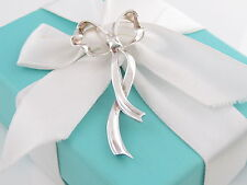 Tiffany & Co Silver Ribbon Bow Brooch Pin Box Included