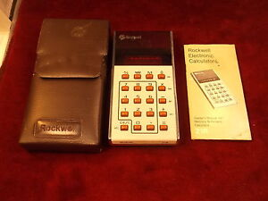 RARE VTG ROCKWELL ELECTRONIC CALCULATOR, MODEL 21R, RED LED, WITH MANUAL, CASE