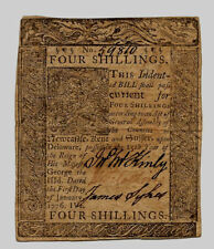 1776 Delaware 4 Four Shillings J Mckinly, James Sykes , T Collins Colonial Note