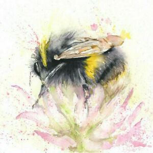 Limited Print of BEE in CLOVER original watercolour by HELEN APRIL ROSE    345
