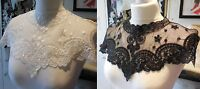 Black or off white bridal floral lace collar applique / tulle lace collar motif