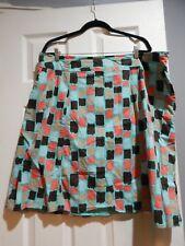 Womens PlusSkirt Size 22W Skirt Merona Godet Inset Blue Geometric