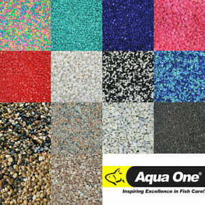 Aqua One Aquarium Fish Tank Natural River Stones & Coloured Gravel Sand 2kg Bags