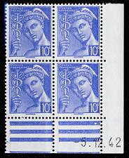 FRANCE - 1942 - N°546 10c MERCURE COIN DATÉ du 5.12.42 (1 point blanc) - TB