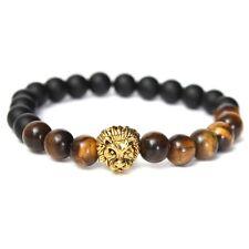 Tiger Eye Stone Matte Plastic Beads Lion Head Bracelet For Men