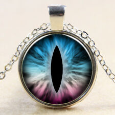 Vintage blue snake eye Cabochon Tibetan Silver Glass Chain Pendant Necklace