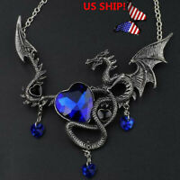 US! Song of IceAnd Fire Game of Thrones Heart-shaped Sapphire Dragon Necklace