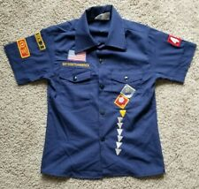 Vintage Boys Scout Uniform Youth Top With Patches - Quality Unit 1987 - Size 10