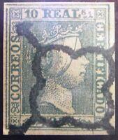 Spain ▀# M5i _7ccf. ed 5, Isabel 10r. 1850, usado. green. Good certif.