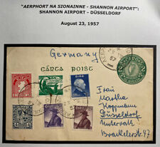 1957 Shannon Airport Ireland Stationery Postcard Cover To Dusseldorf Germany
