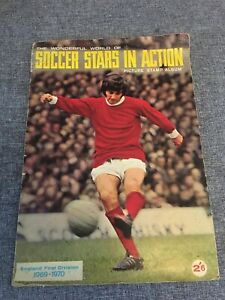 SOCCER STARS IN ACTION PICTURE STAMP ALBUM  1969-1970. 100% COMPLETE BEST MOORE