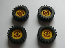 Lego 4 roues jaunes set 8826 6481 4543 8024 / 4 yellow wheels w/ axle