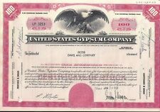 Stock certificate United States Gypsum Company 100 Shares 1968