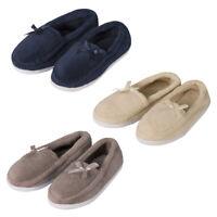 Ladies Womens Plain Moccasin Slippers Memory Foam Fur House Shoes Ribbon Lounge