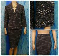 St. John Collection Navy Blue Jacket Skirt L 12 14 2pc Suit Buttons Polka Dots