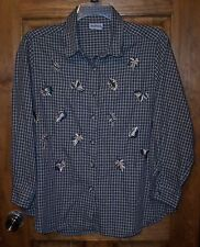 BonWorth Petite Large Button Down Front Plaid Leaf Design LS Made in  Mexico GUC