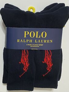 Polo Ralph Lauren Athletic 6-Pair Crew Socks Navy with Big Red Pony