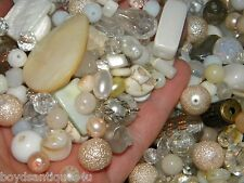 NEW 1/2 lb. 6-15mm WHITE/ CREAM MIXED LOOSE BEADS LOT GLASS, Pearls, Gemstone