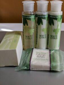 Bath & Body Works White Citrus 5 Pc Lot Shampoo Conditioner Lotion Face Bar Cap