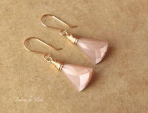 Peach moonstone pearlescent artisan shabby beach tropical gold drop earrings