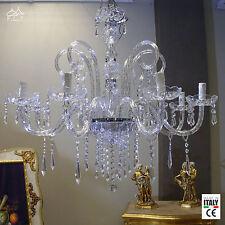 Lampadario classico 8 luci cristallo cromato salotto soggiorno DESIGN SWAROVSKY
