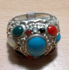 925 STERLING SILVER TURQUOISE MULTI GEM SOLITAIRE WITH ACCENTS RING (US 10)