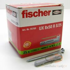 3 x tacos fischer 94760 universal tacos + tornillos UX 8x50 R s/25 VPE = 25 unid nuevo
