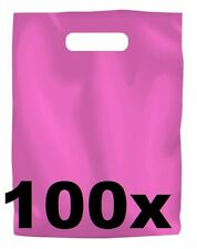 100 x PINK PLASTIC CARRY BAGS with die cut HANDLE - medium size - 250 x 380mm